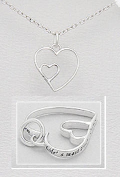 """Life's Most Treasured Moments Happen When You Least Expect Them"" Engraved Hearts Sterling Silver Pendant"