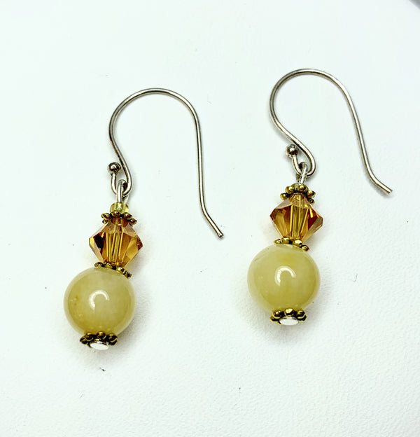 Yellow Jade and Toning  Swarovski Crystal Drop Earrings