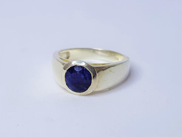 Round Sapphire Bezel Set Sterling Silver Ring
