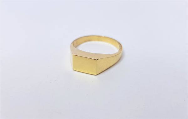 9ct Yellow Gold Mens Plain Signet Ring