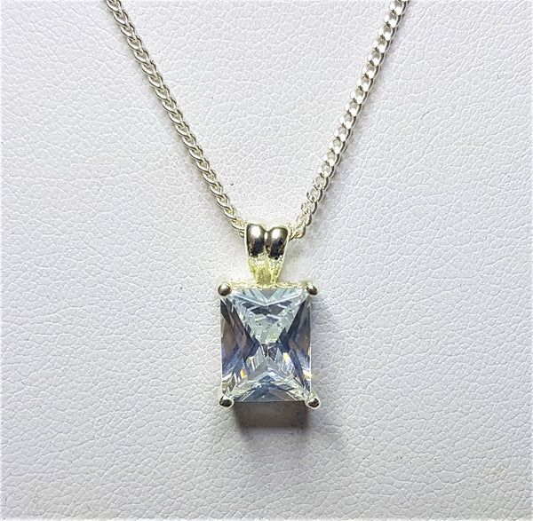 White Cubic Zirconia Sterling Silver Pendant