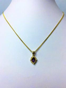 9ct Yellow Gold Amethyst and Diamond Rope Edge Pendant