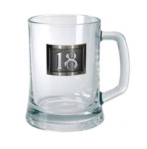 18th Birthday Glass Mug with Pewter Rectangle