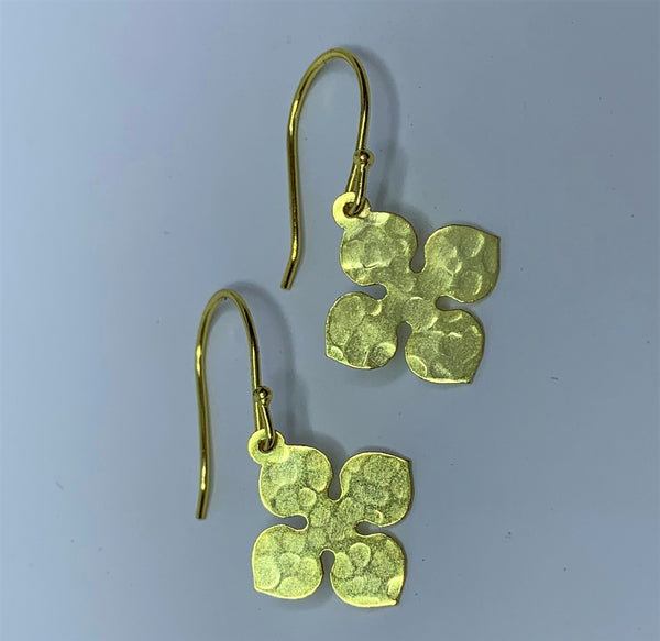 Yellow Gold Plate Pressed Flower Sterling Silver Hooks