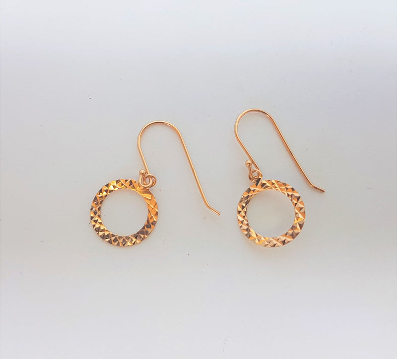 Pressed Flat Circle Rose Gold Plate Sterling Silver Hooks