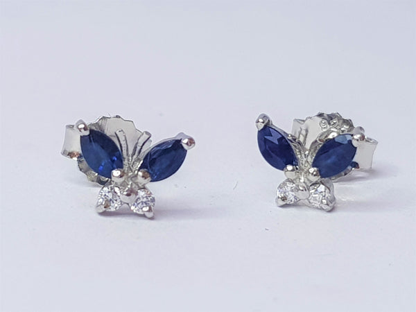Sapphire and CZ Butterfly Sterling Silver Studs