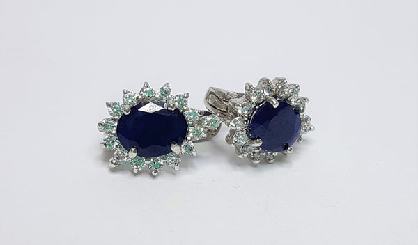 Sapphire Cubic Zirconia Sterling Silver Studs