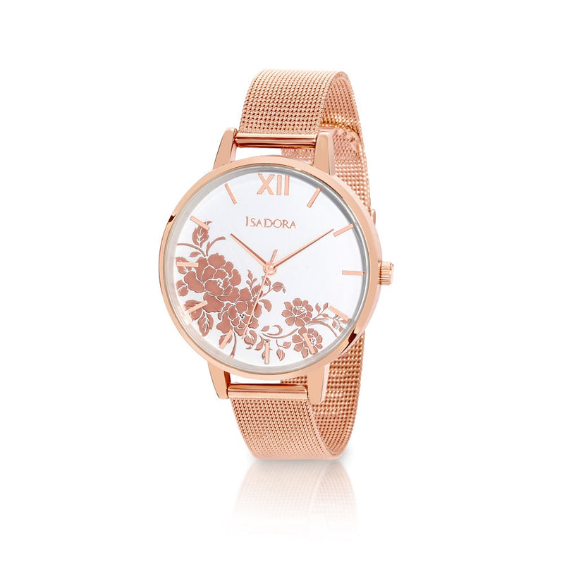 Andorra by Isadora Rose Floral Case with Rosetone Fine Mesh Bracelet Watch