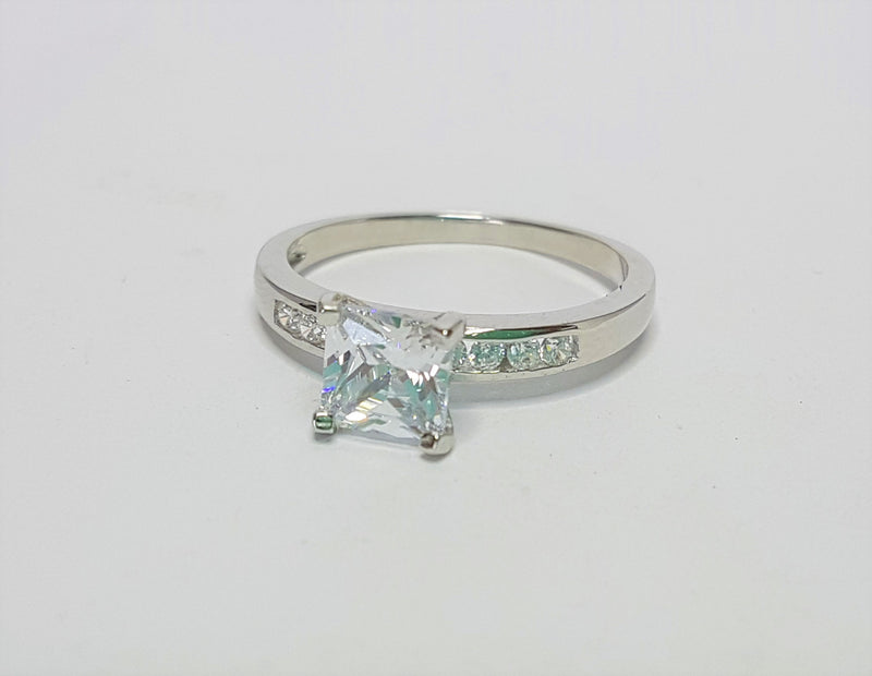 Princess CZ with CZ Shoulder Sterling Silver Ring