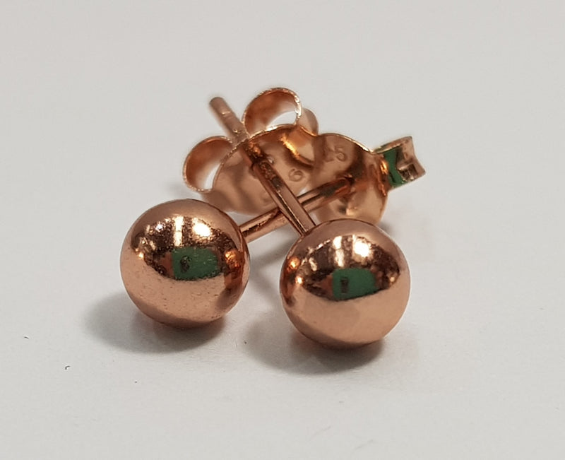 5mm Ball Rose Gold Plate Studs