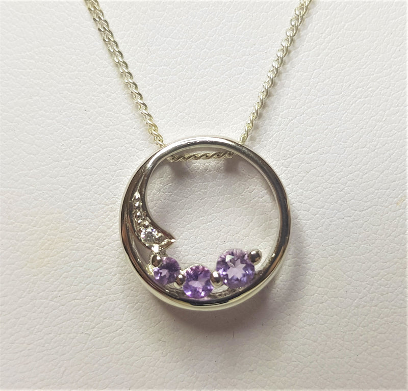3 x Amethyst  Circle With Cubic Zirconia Sterling Silver Pendant