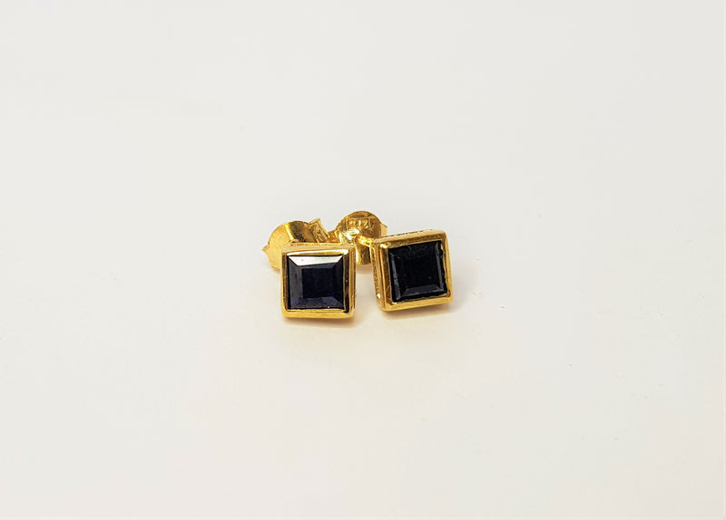 9ct Yellow Gold Princess Cut Sapphire Studs