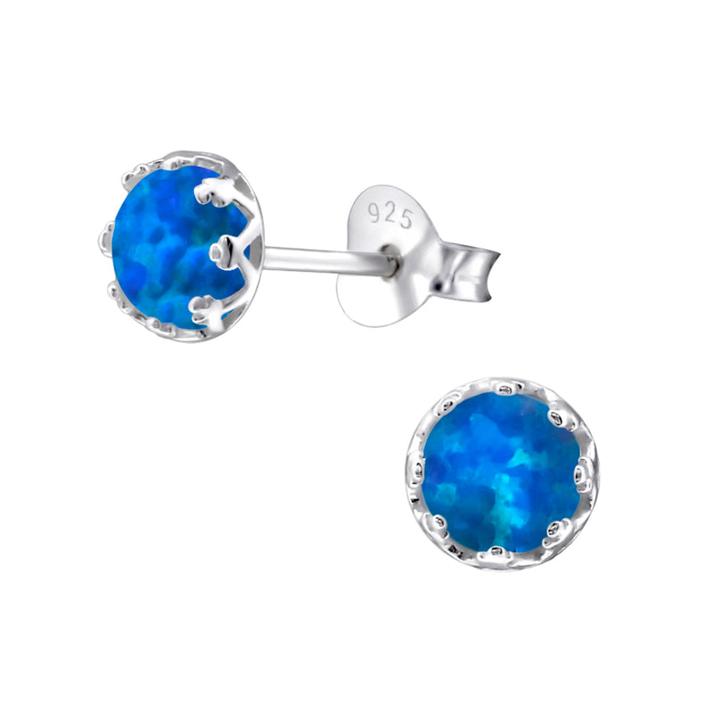 Pacific Blue Created Opal Sterling Silver Studs