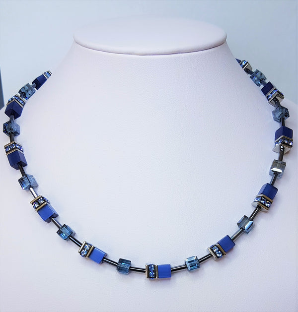 Blue Geo Cube Stainless Steel Rhinestone Glass Synthetic Tigers Eye Polaris Haematite Swarovski Crystal Necklace