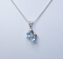 2x Blue Topaz Marquise Sterling Silver Pendant