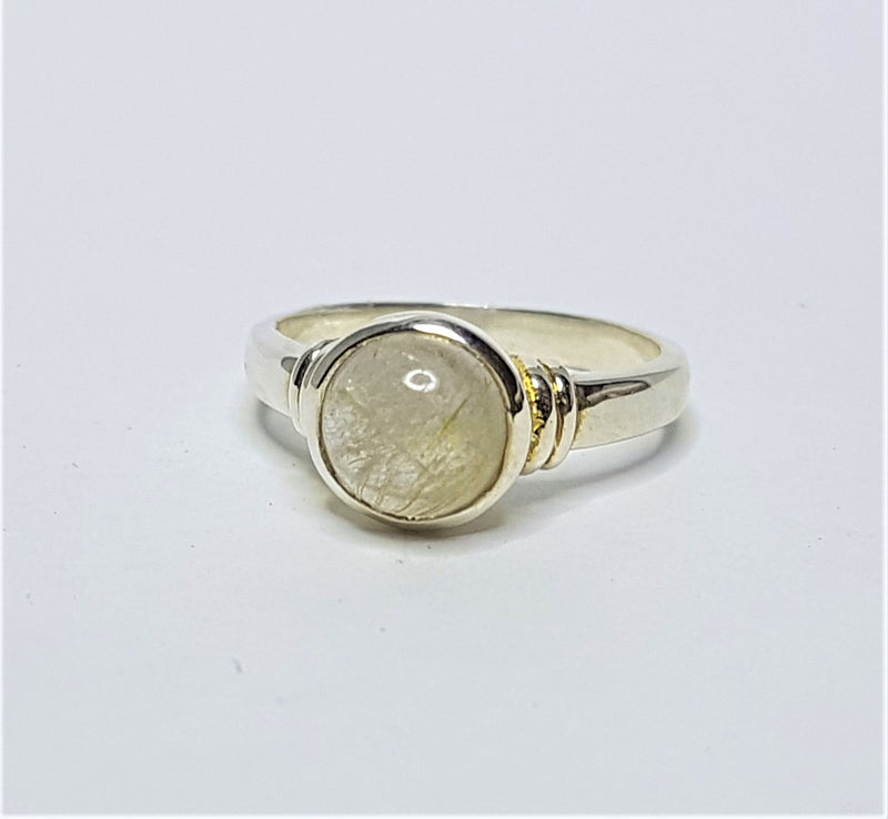 Grass Stone Round Cab Bezel Set Sterling Silver Ring
