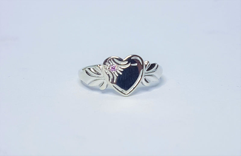 Heart October Birthstone Sterling Silver Signet Ring
