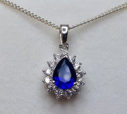 Pear Blue Crystal and CZ Cluster Sterling Silver Pendant