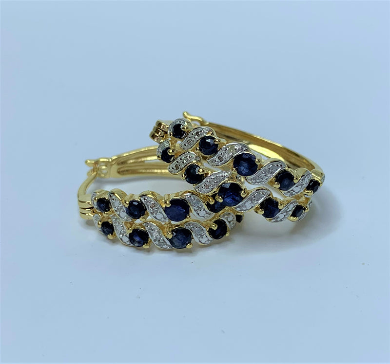 Sapphire and CZ Gold Plate Sterling Silver Hoops