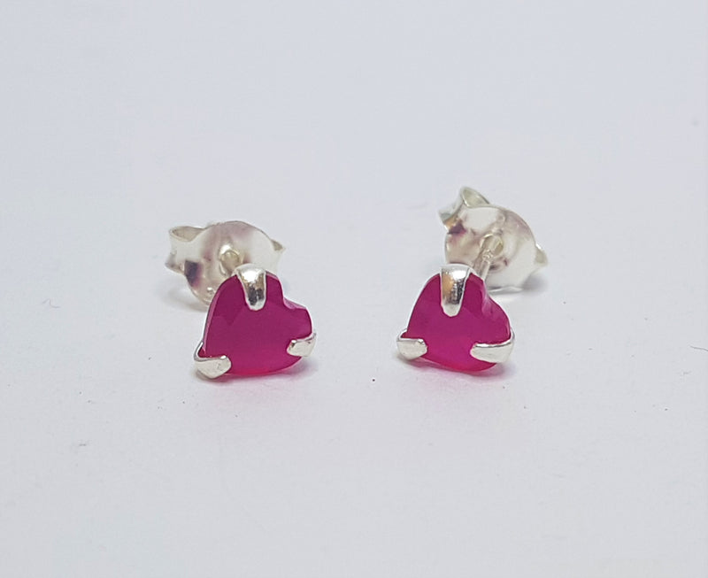 Ruby Heart Sterling Silver Studs