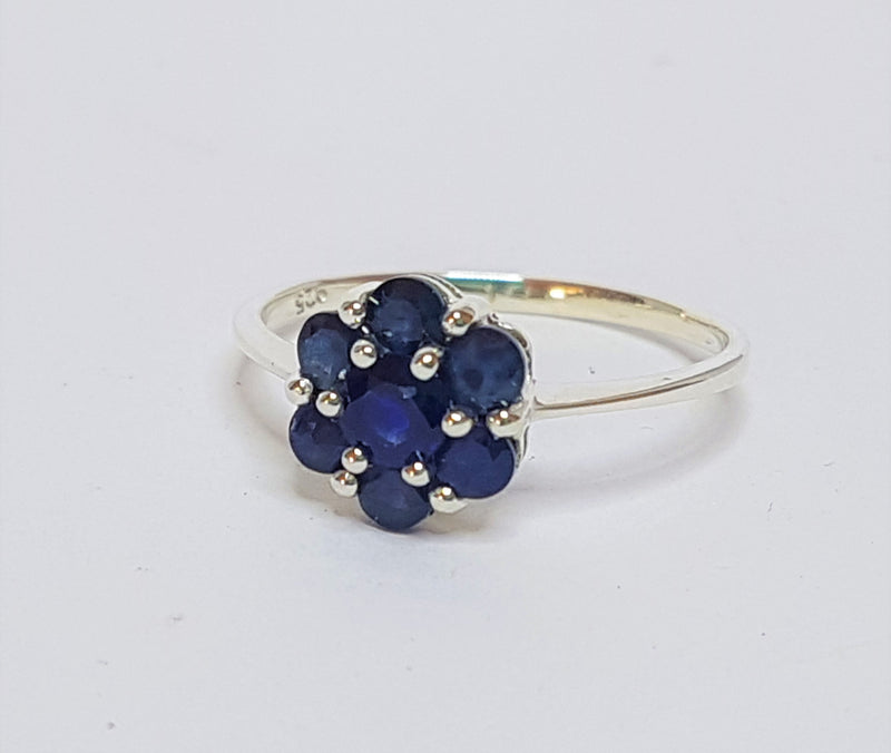 Sapphire Flower Sterling Silver Ring