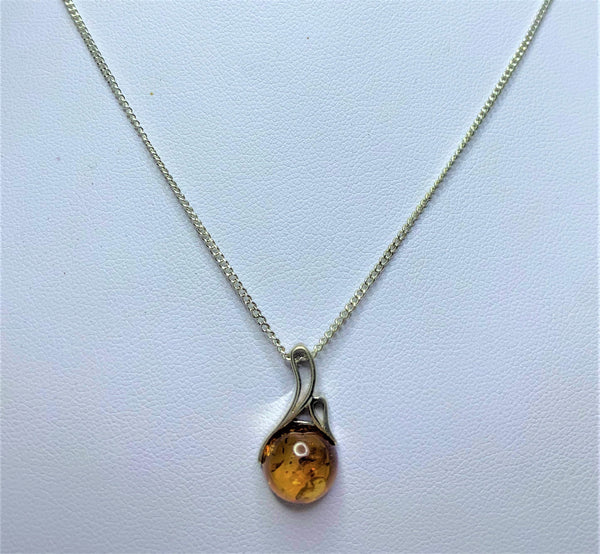 Round Amber Sterling Silver Pendant