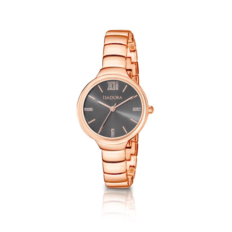 Vigo by Isadora Gun Sunray Dial with Rose Stardust Accents and Rosetone Bracelet Watch