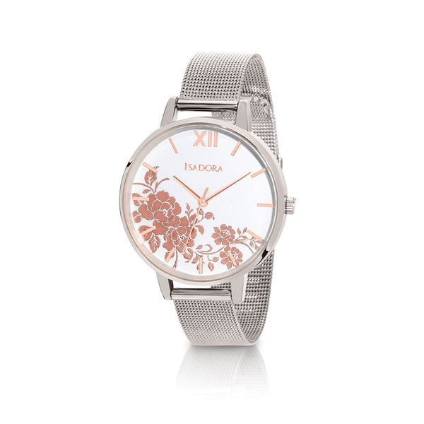 Andorra by Isadora Silver and Rose Floral Design Case with Steel Mesh Bracelet Watch