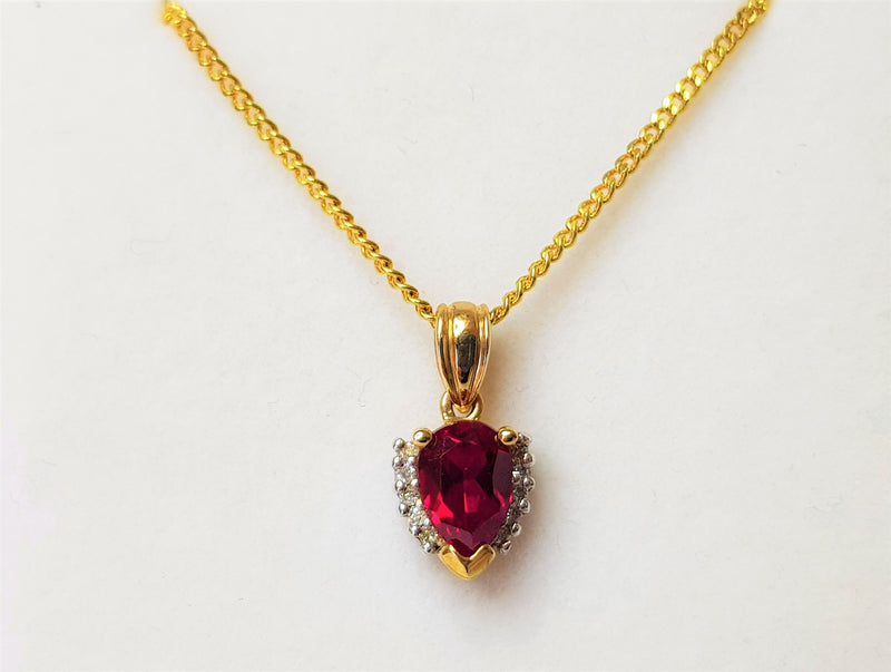9ct Yellow Gold Cr Ruby and Diamond Heart Shape Pendant