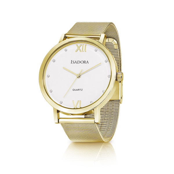 Merida by Isadora Gold Case with Gold Mesh Bracelet Watch