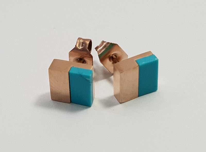 Square Turquoise (Im) Rose Gold Plate Studs