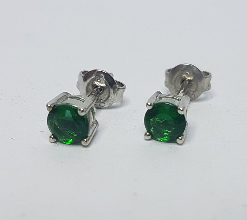 Round Green Cubic Zirconia Sterling Silver Studs