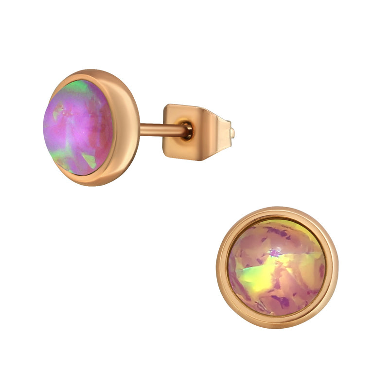 Pink Opal (Cr) Rose Gold Plate Round Stainless Steel Studs