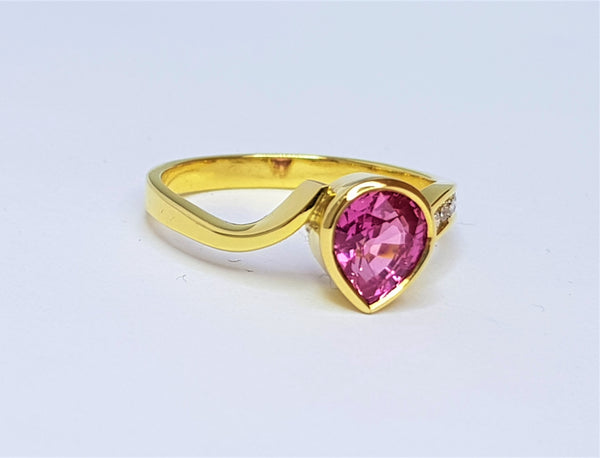 18ct Yellow Gold Pink Sapphire Pear and Diamond Ring