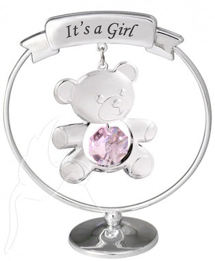Crystal 'Its a Girl' Teddy Mobile Silver
