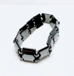 Hematite Wide S Link and Ball Bracelet