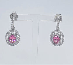 Pink Cubic Zirconia Oval With White Cubic Zirconia Surround Earrings
