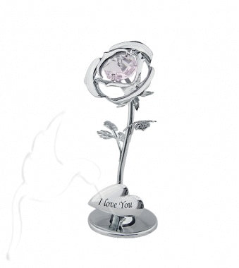 Crystocraft Crystal Rose with Heart Silver