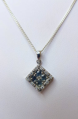 Sapphire Cubic Zirconia Square Sterling Silver Pendant