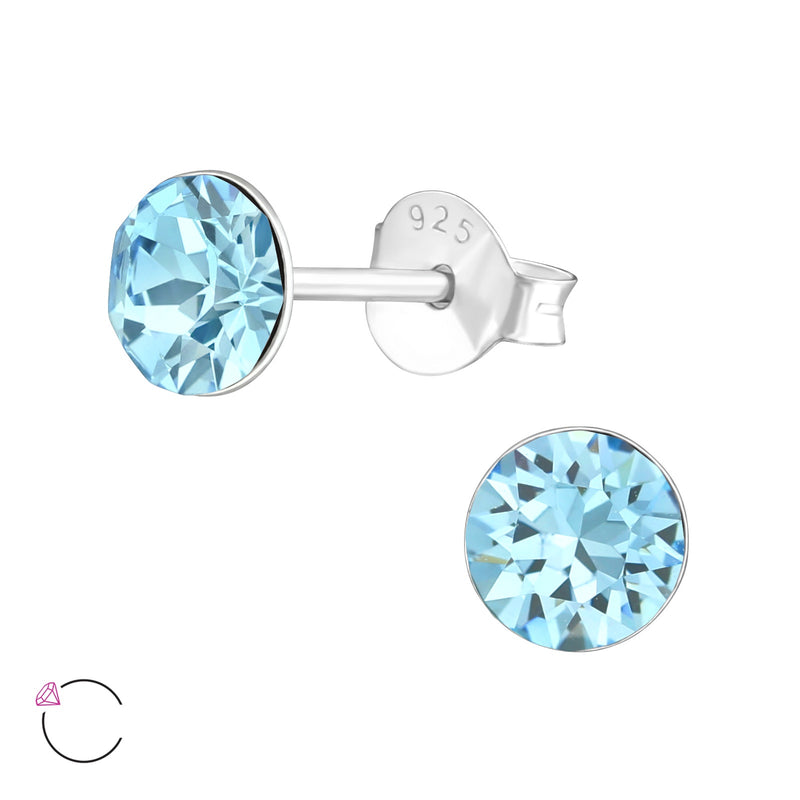 5mm Round Aquamarine Crystal Claw Set Sterling Silver Studs