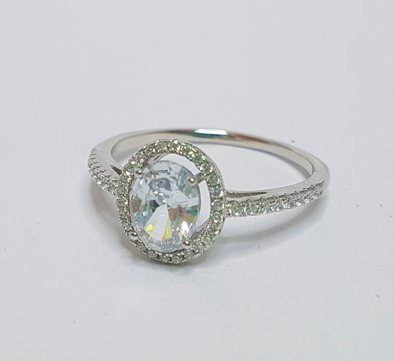Oval CZ Halo Sterling Silver Ring