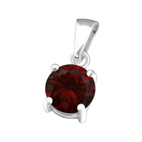 January, Garnet Cubic Zirconia Claw Set Sterling Silver Pendant