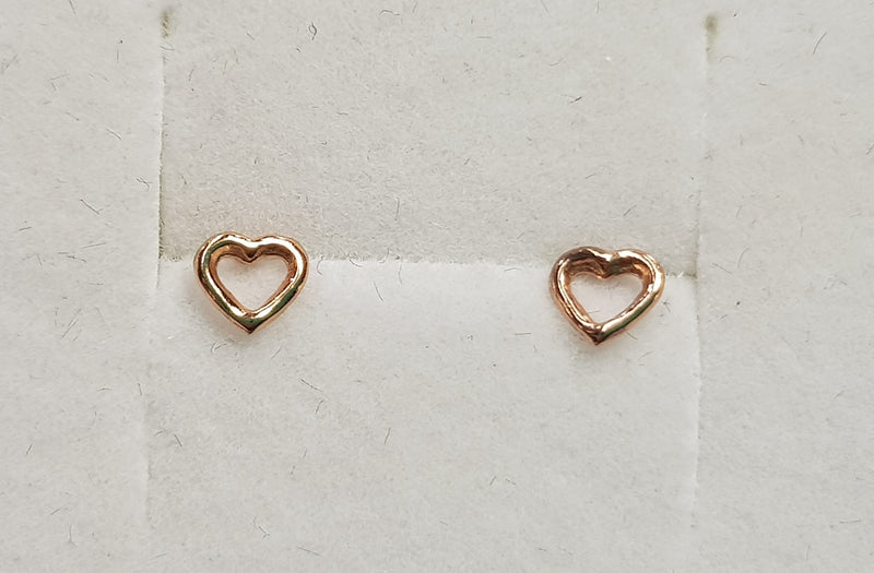Heart Rose Gold Plate Studs