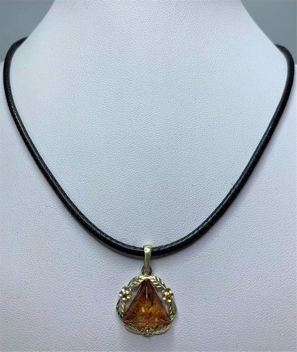 Amber Sterling Silver Pendant With Leather Necklet