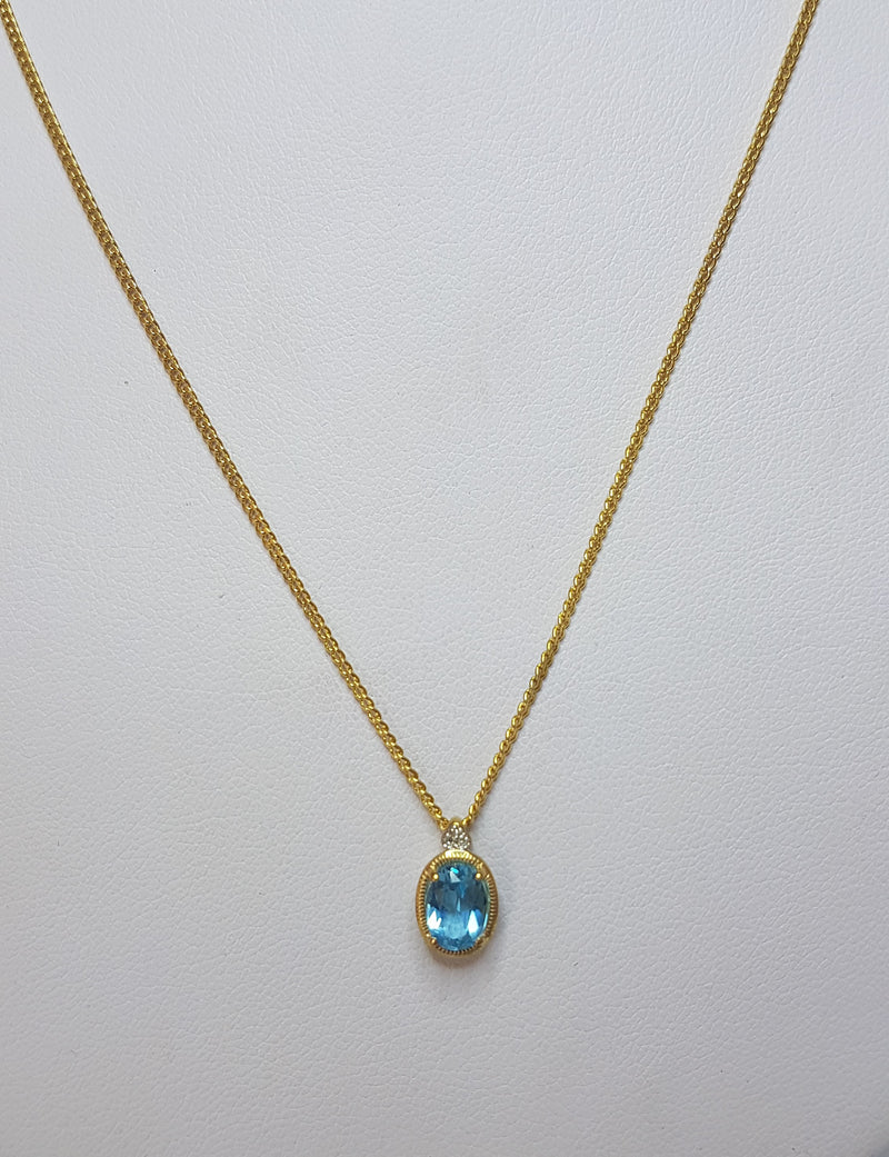 9ct Yellow Gold Oval Blue Topaz & Diamond Pendant