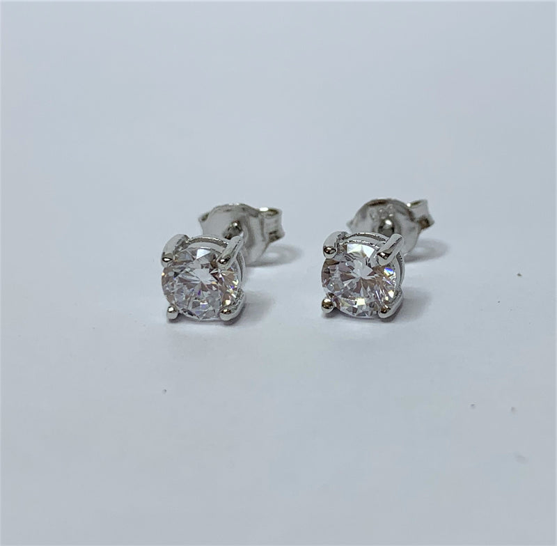 5mm Round April (Clear) CZ Sterling Silver Studs