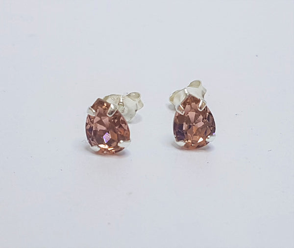 Pear Blush Rose Crystal Claw Sterling Silver Studs