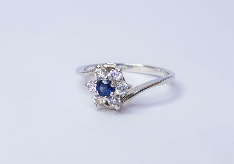 Sapphire and CZ Flower Cluster Sterling Silver Ring