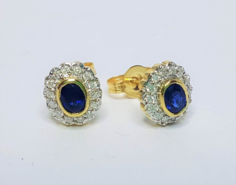 9ct Yellow Gold Sapphire and Diamond Cluster Studs