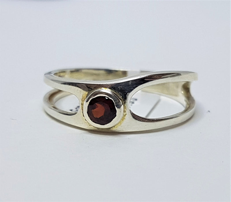 Garnet Brilliant Cut Bezel Sterling Silver Ring
